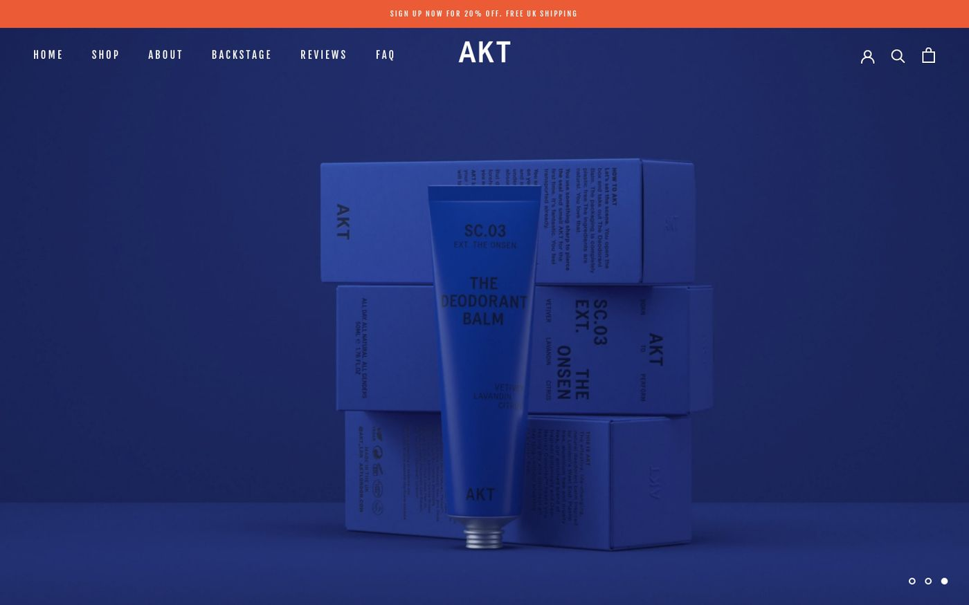 Screenshot of Akt Deodorant website