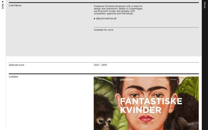 Screenshot of Lone Palmus website