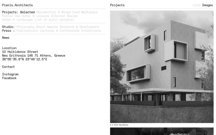 Screenshot of Pieris.Architects : Award winning Architects in Athens, London & Nicosia