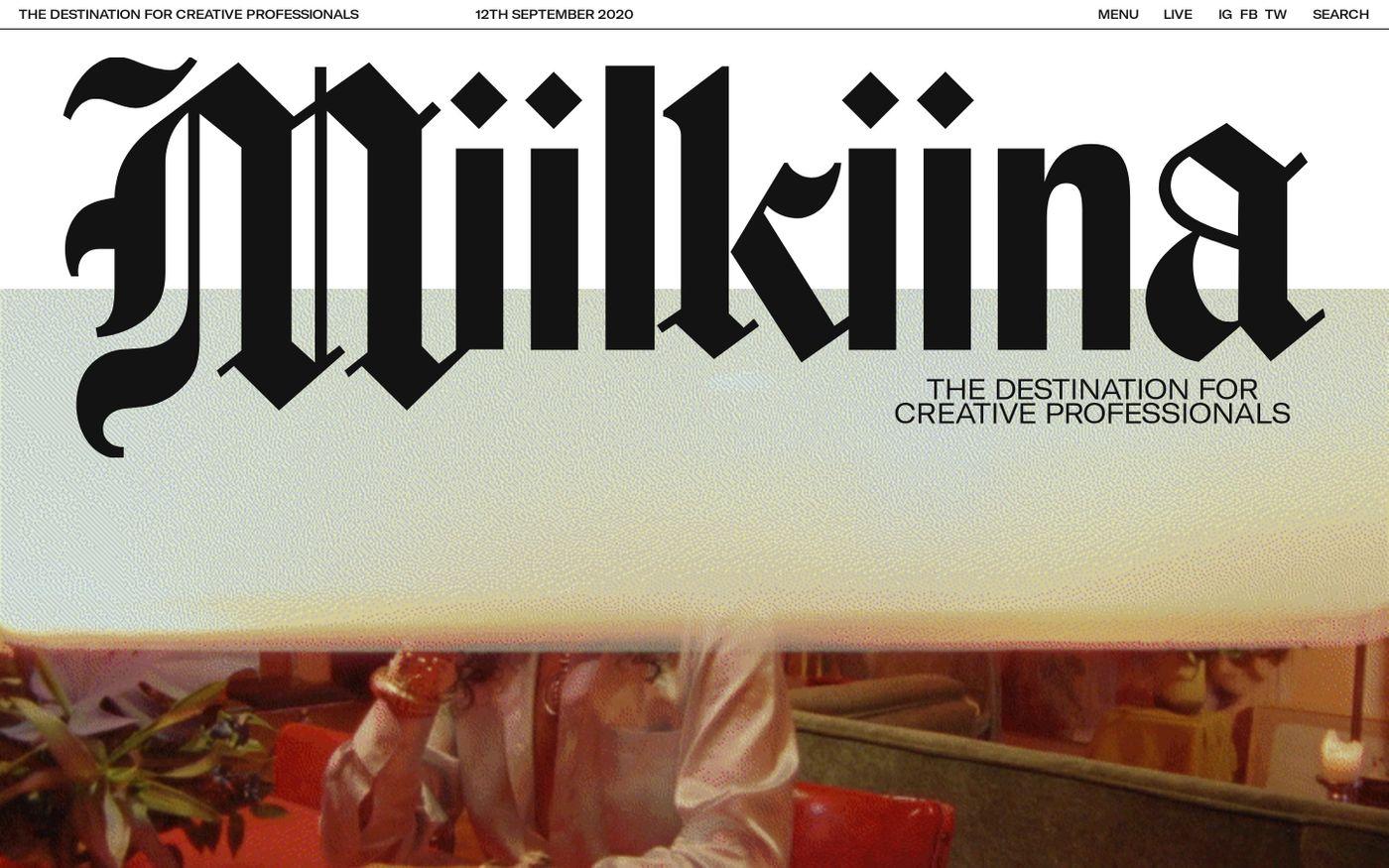 Screenshot of Miilkiina website