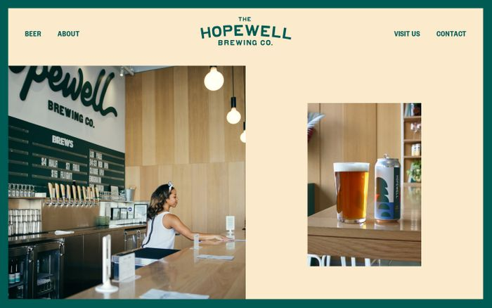 Screenshot of Hopewell Brewing Co. website