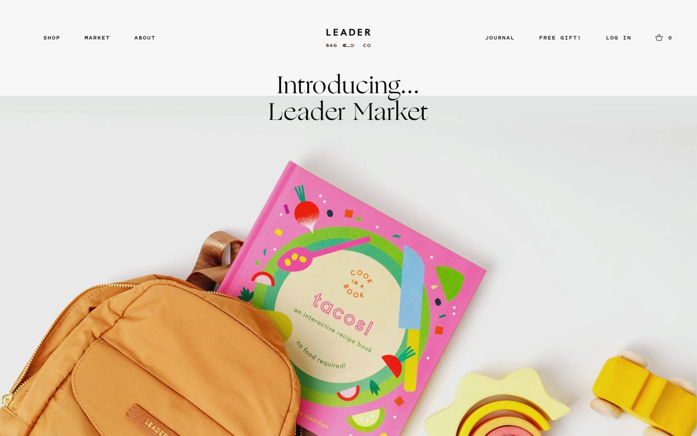 Screenshot of Leader Bag Co. website
