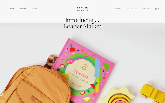 Screenshot of Leader Bag Co. website