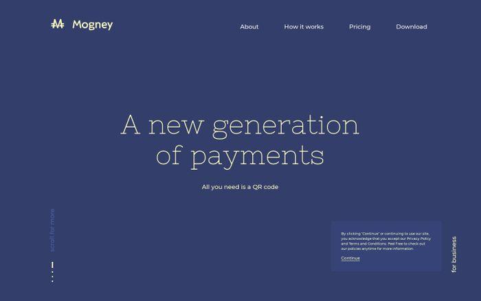 Screenshot of Mogney website