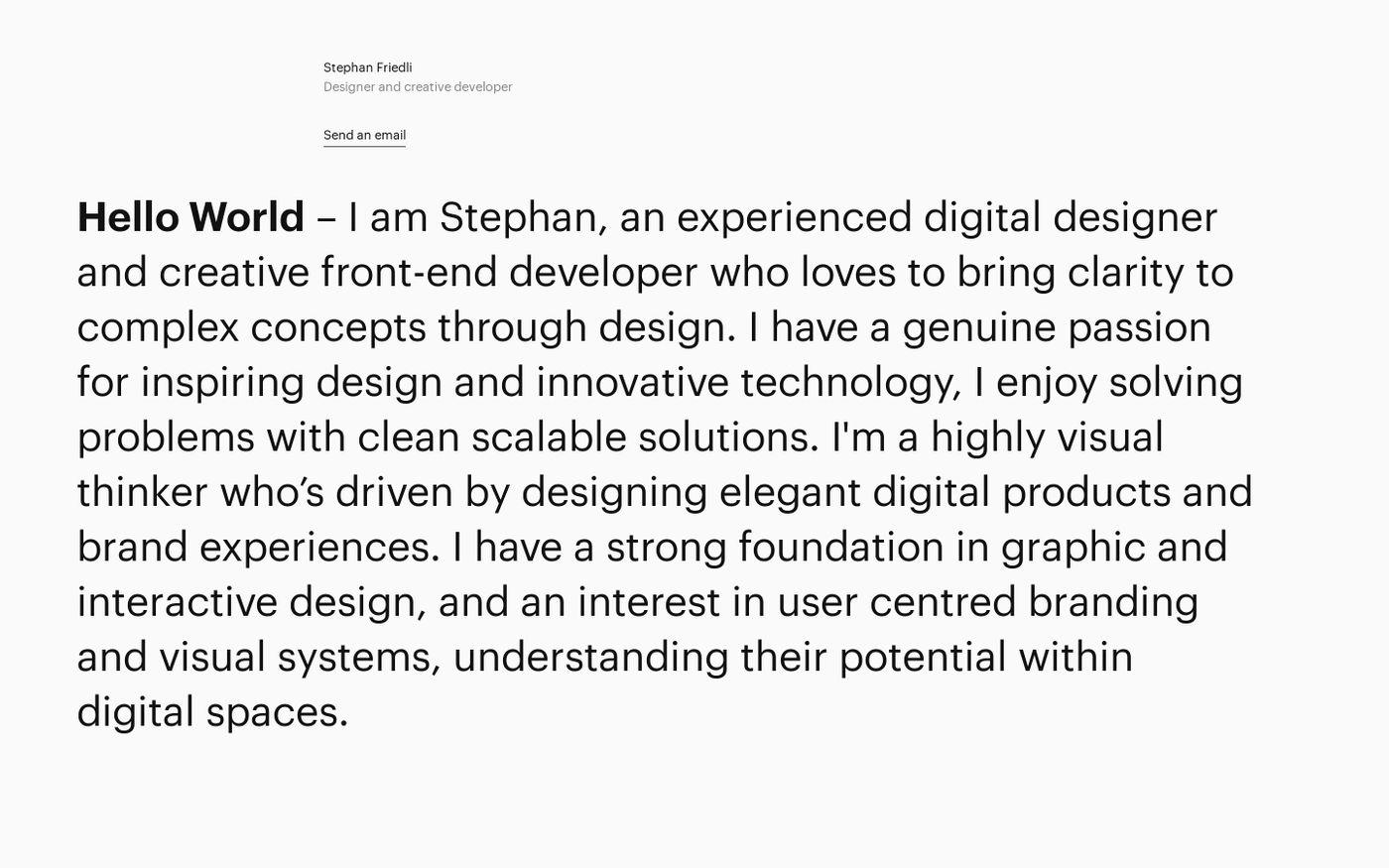Screenshot of Stephan Friedli website