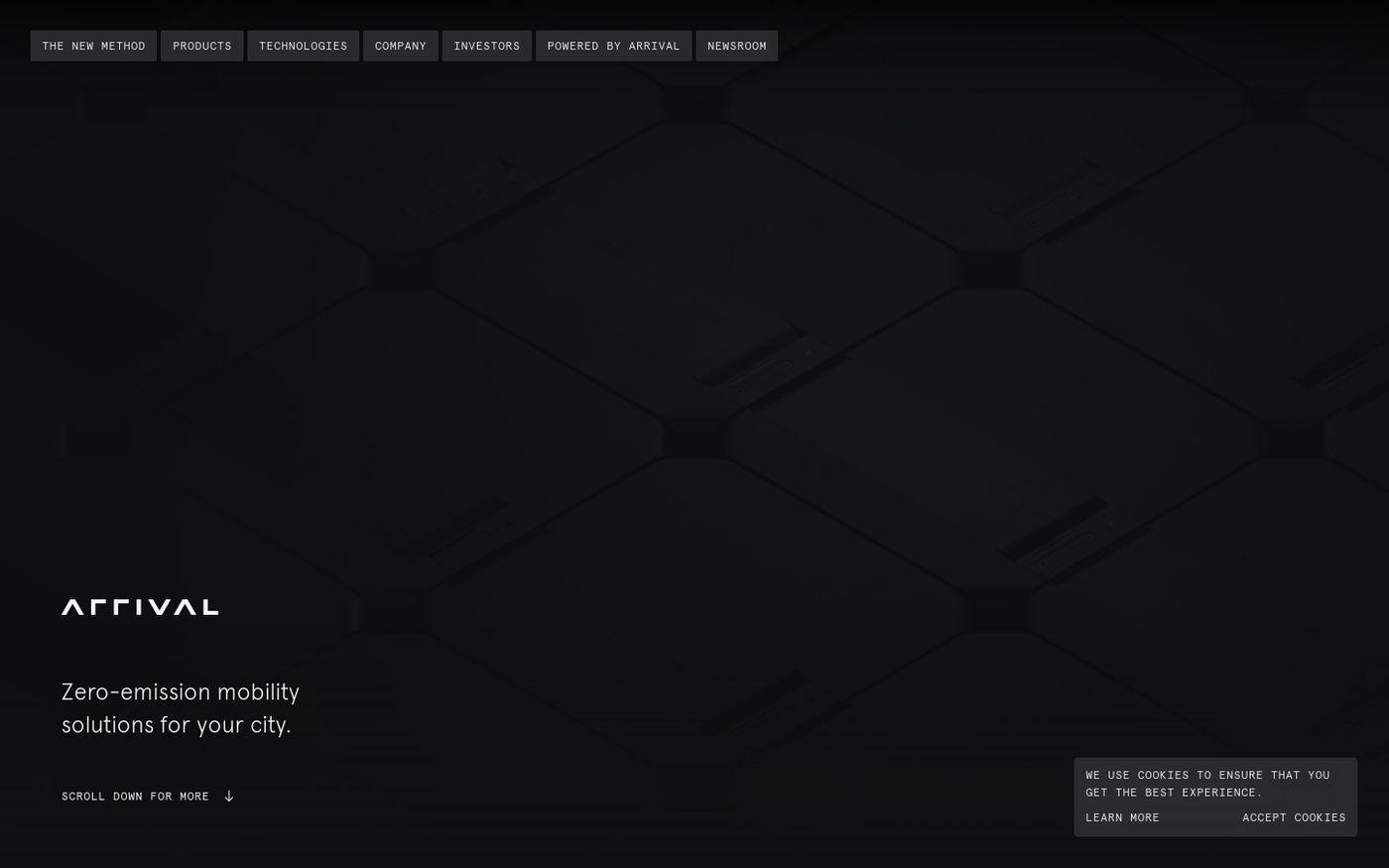 Screenshot of Arrival website