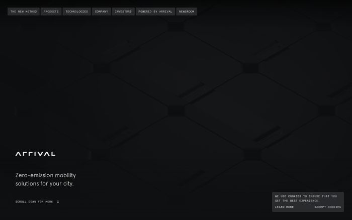 Screenshot of Arrival website