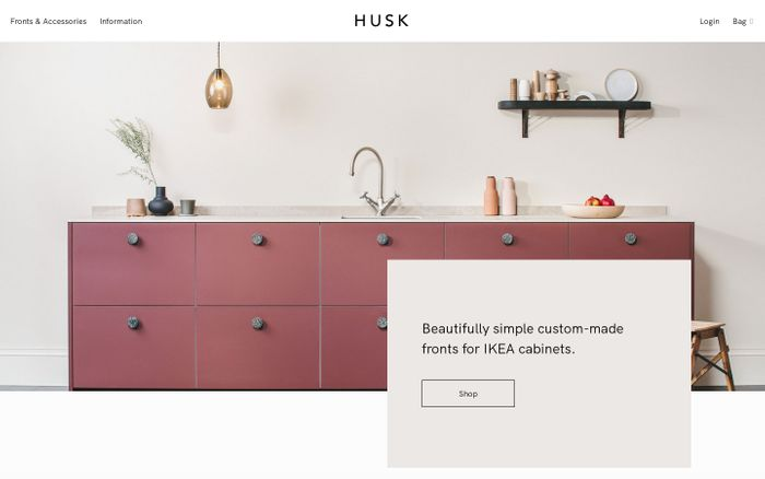 Screenshot of HUSK · Beautifully simple custom-made fronts for IKEA cabinets
