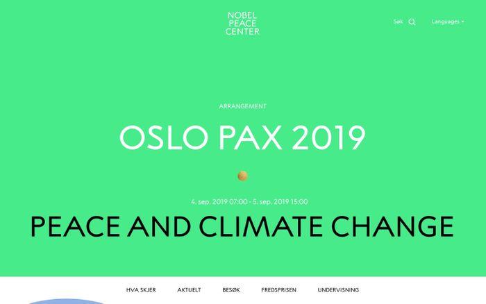 Screenshot of Nobels Fredssenter