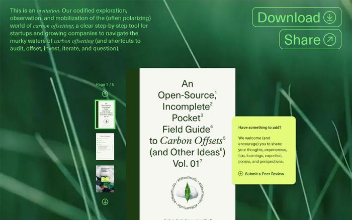 Screenshot of Pocket Field Guide to Carbon Offsets website