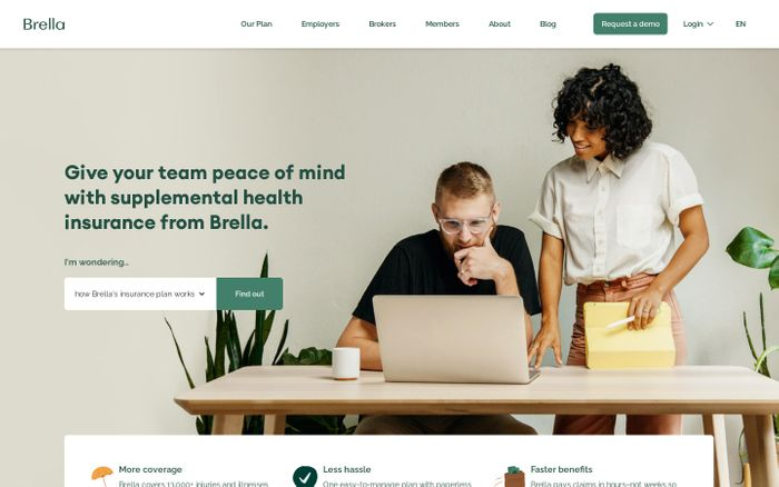 Screenshot of Brella Insurance website