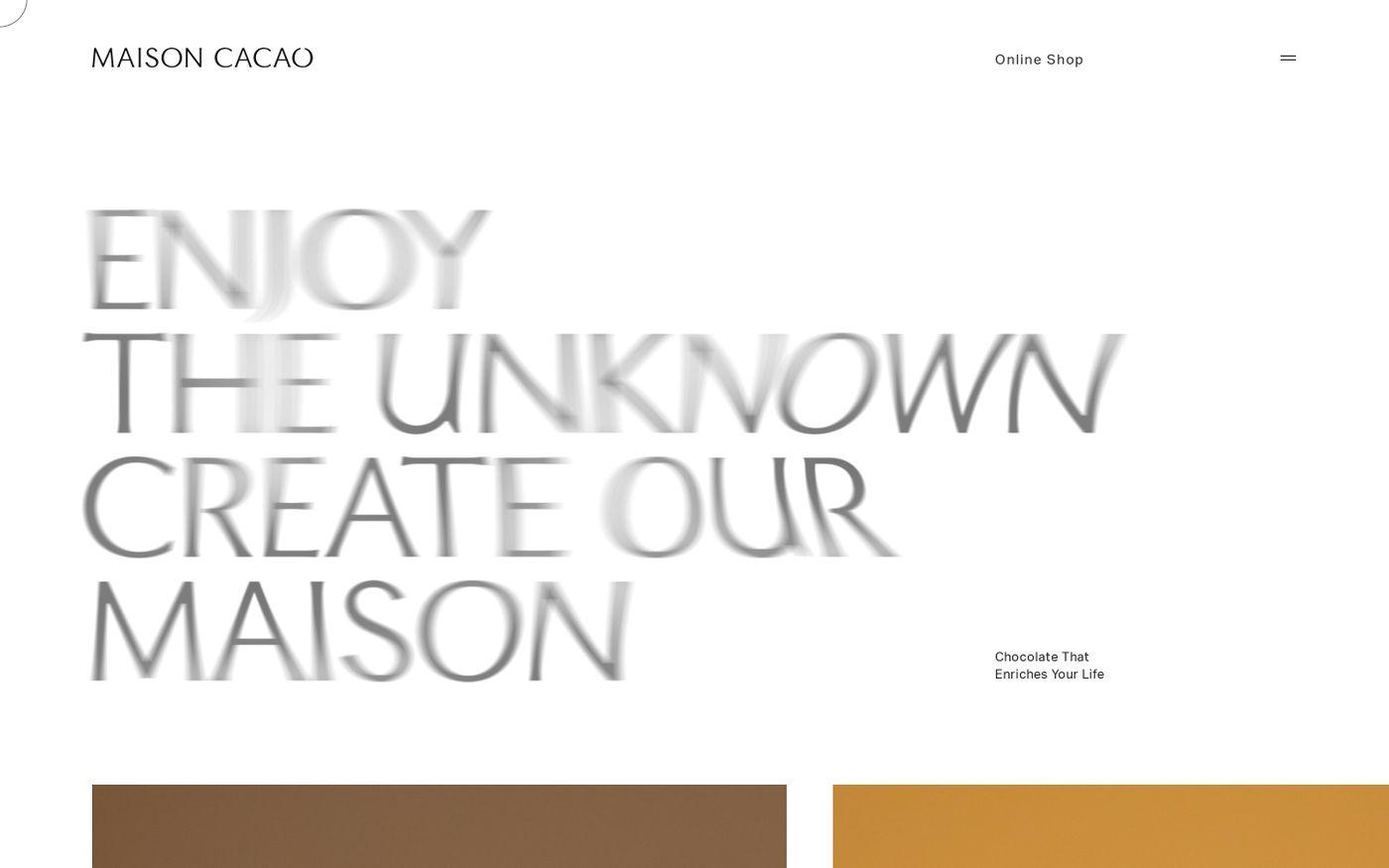 Screenshot of MAISON CACAO公式ブランドサイト website