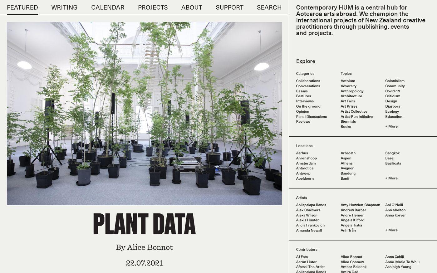 Screenshot of Contemporary Hum website