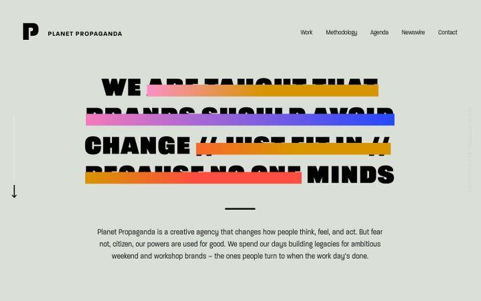 Screenshot of Planet Propaganda website