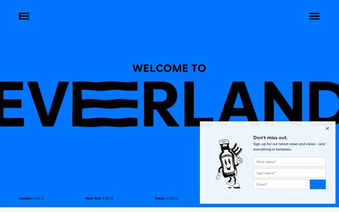 Screenshot of Everland website