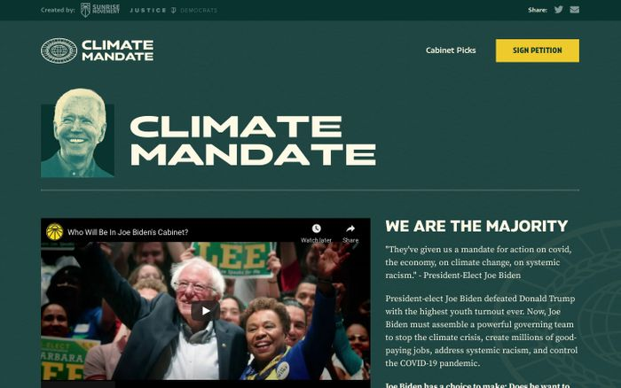 Screenshot of Climate Mandate website