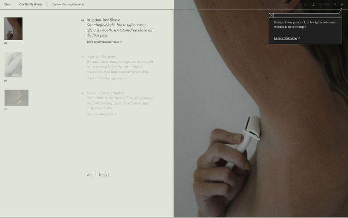 Screenshot of Well kept website