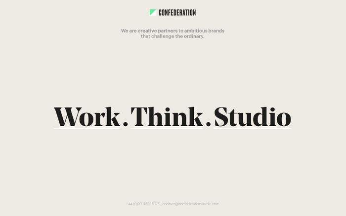 Screenshot of Confederation Studio — Your local and global branding agency