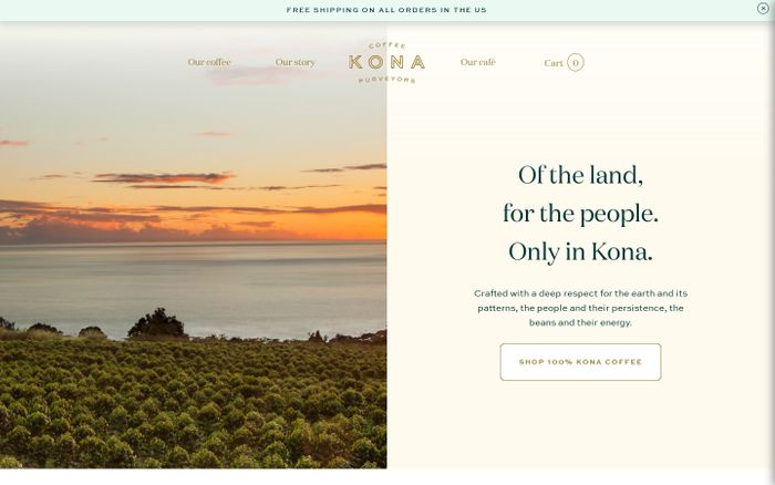 Screenshot of Kona Coffee Purveyors — 100% Kona Coffee from craft roasters in Hawaii website