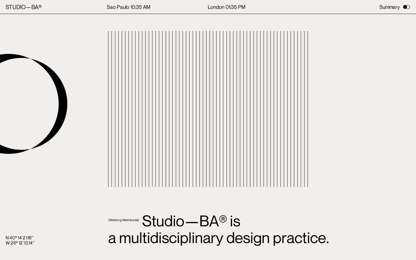Screenshot of Studio BA website