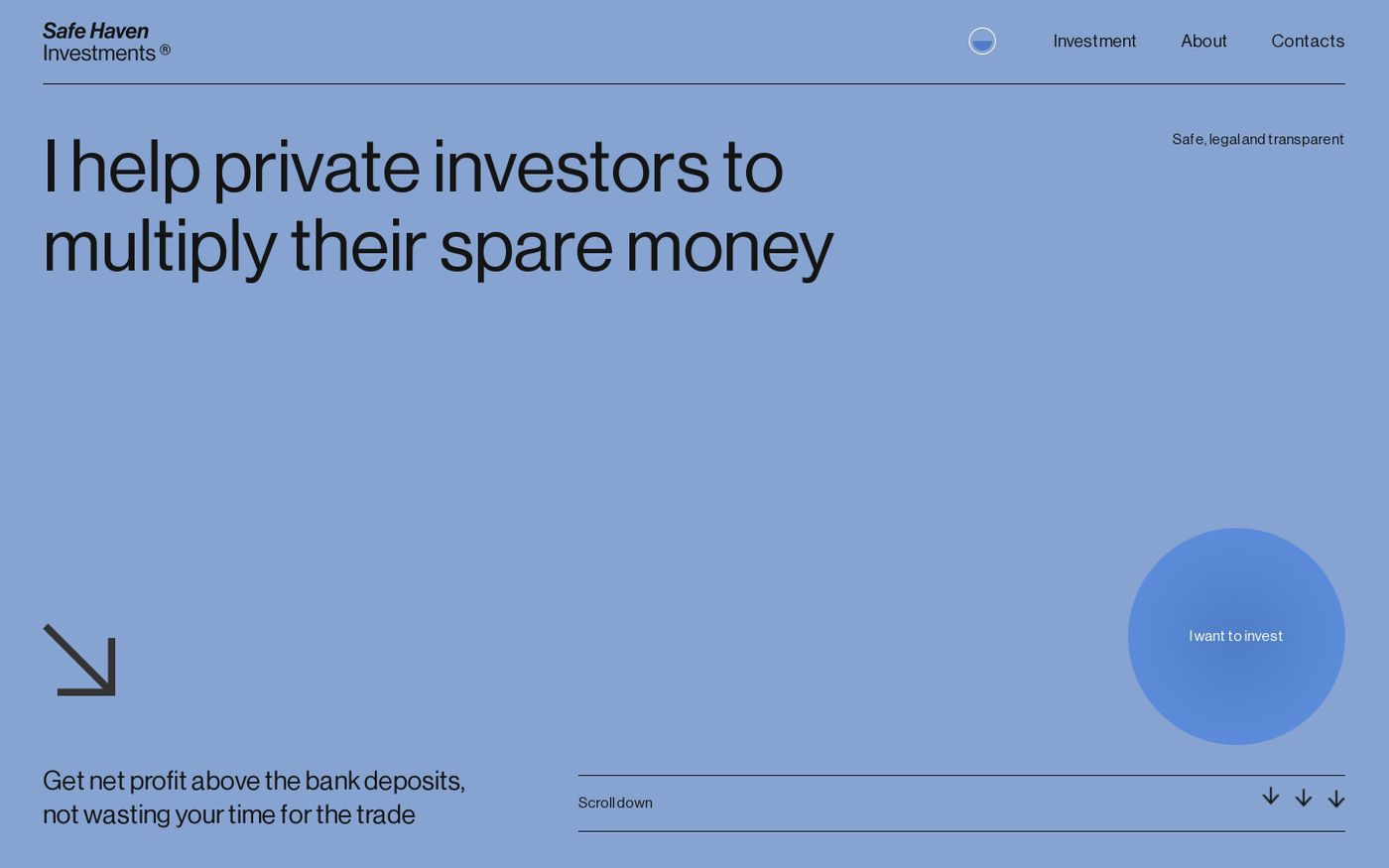 Screenshot of Safe Haven Investment website