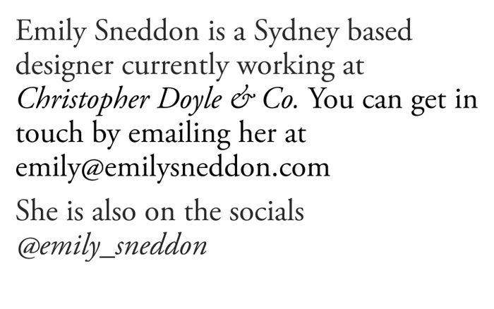 Screenshot of Emily Sneddon website