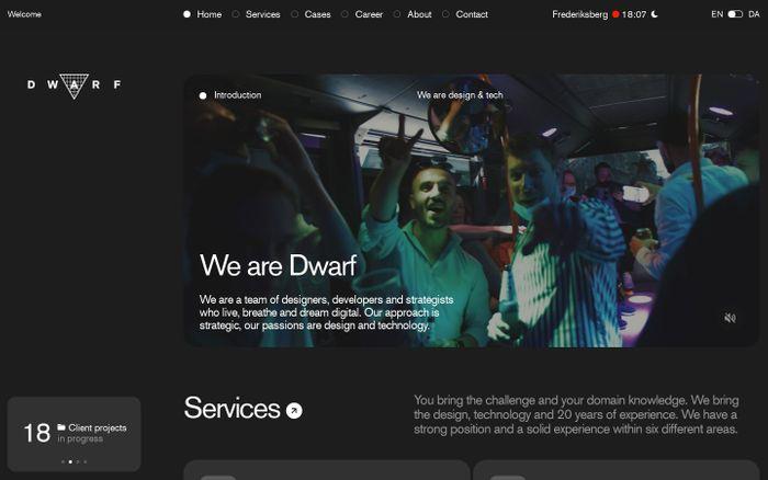 Screenshot of Dwarf website