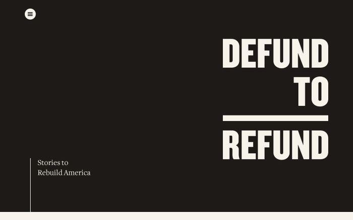 Screenshot of Defund to refund website