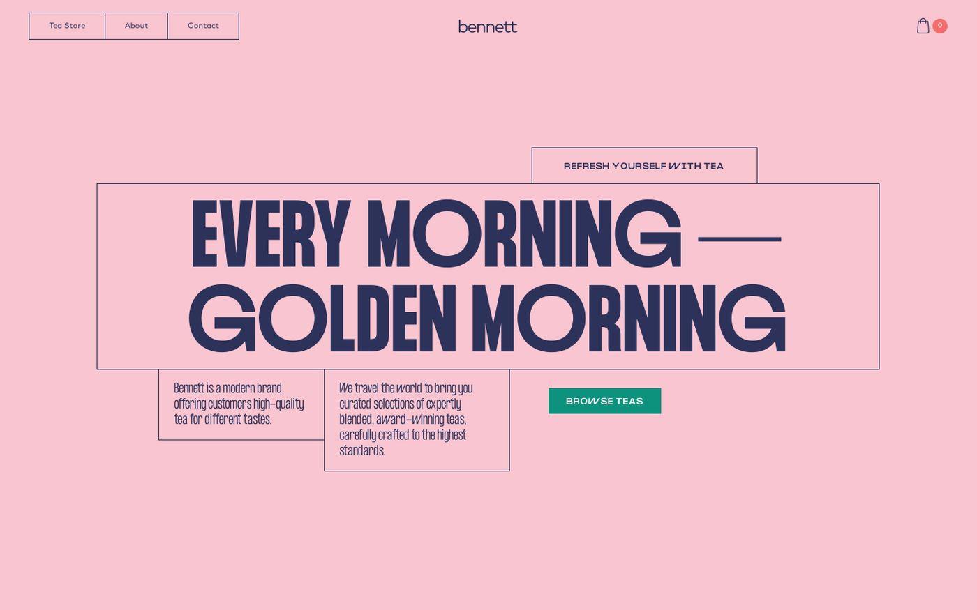 Screenshot of Bennett Tea website