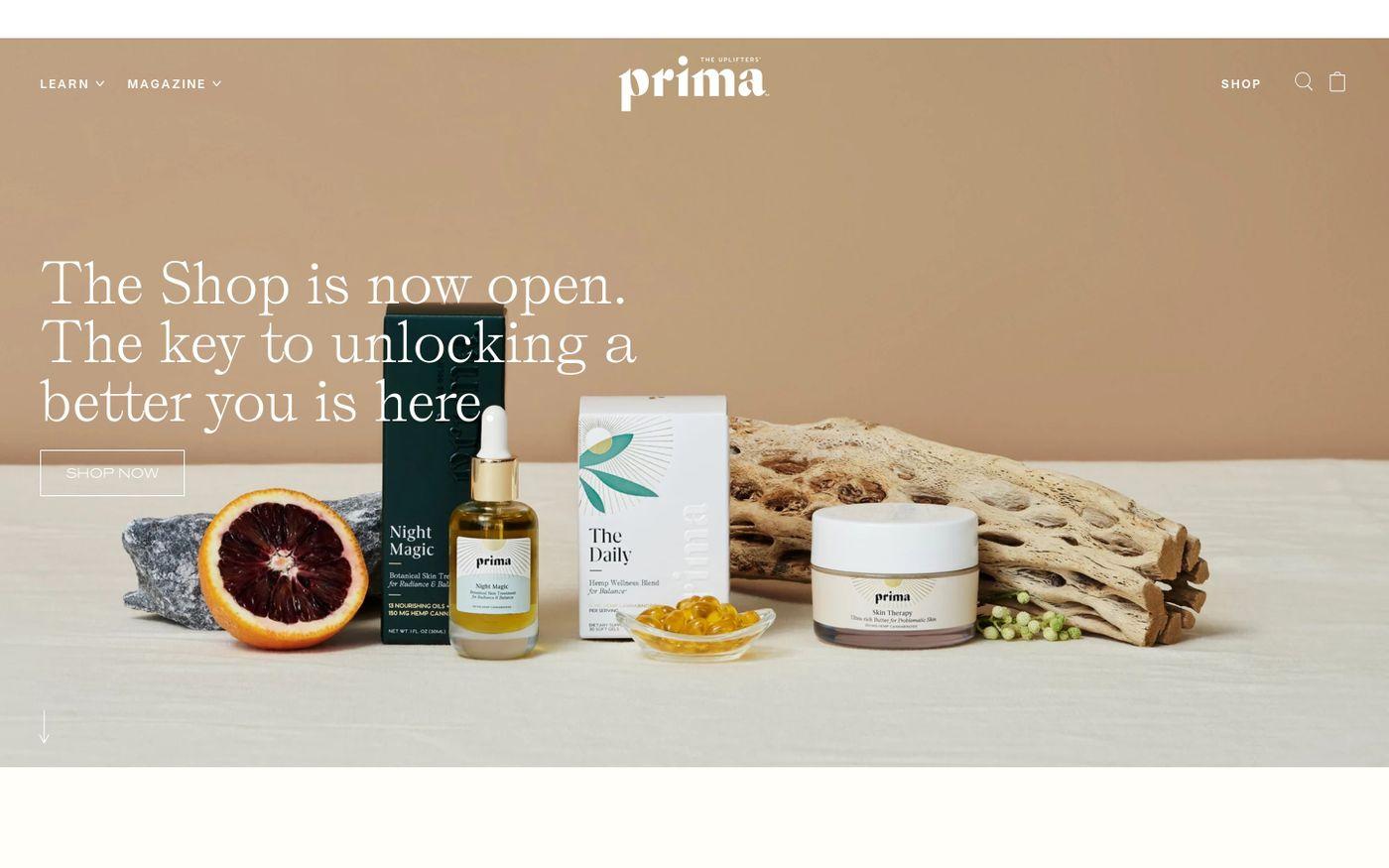 Screenshot of Prima website
