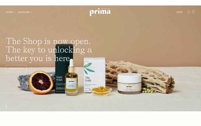 Screenshot of Prima | Beauty & Wellness Rooted in CBD, Hemp, Heart, and Science