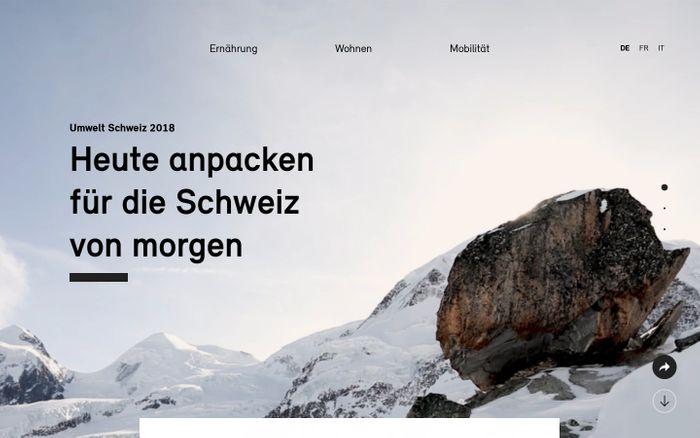 Screenshot of Umwelt Schweiz 2018 | Bundesamt für Umwelt BAFU