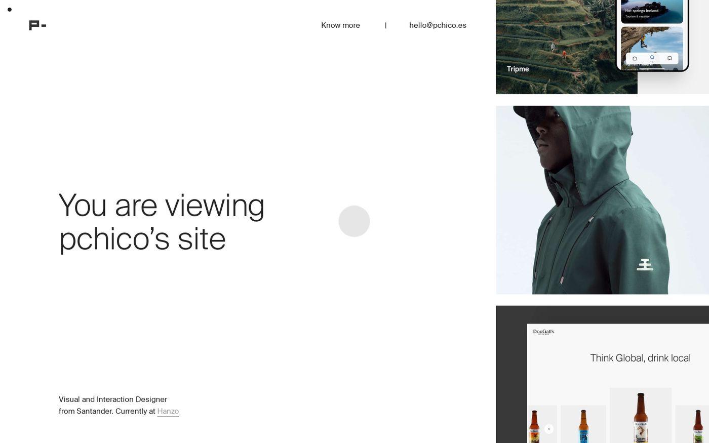Screenshot of Pchico, Visual and Interaction Designer website