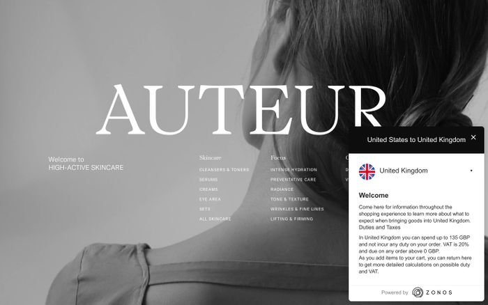 Screenshot of Auteur website