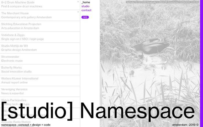 Screenshot of namespace : concept + design + code website
