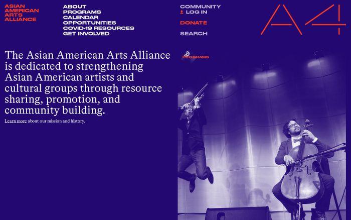 Screenshot of Asian American arts alliance website