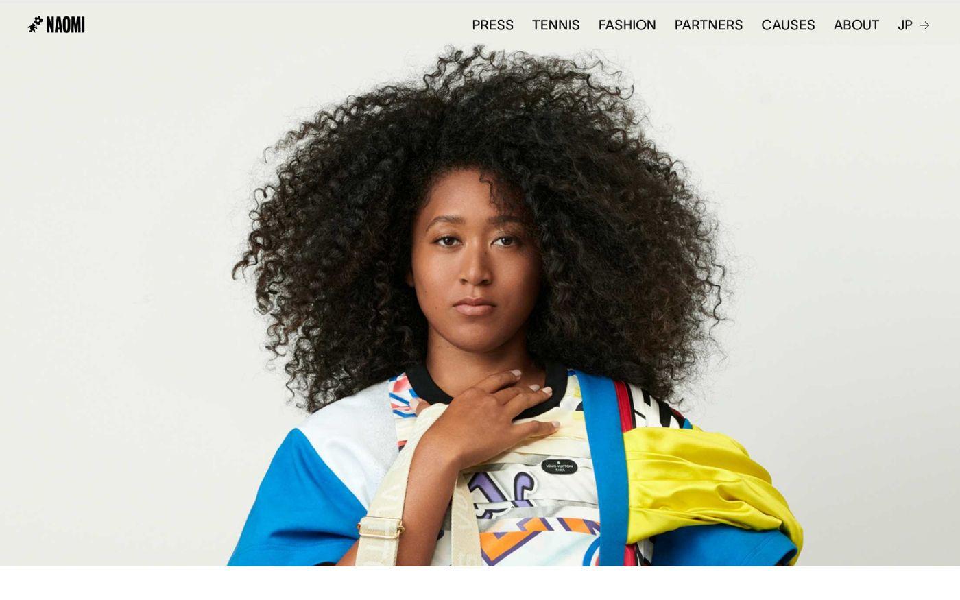 Screenshot of Naomi Osaka website