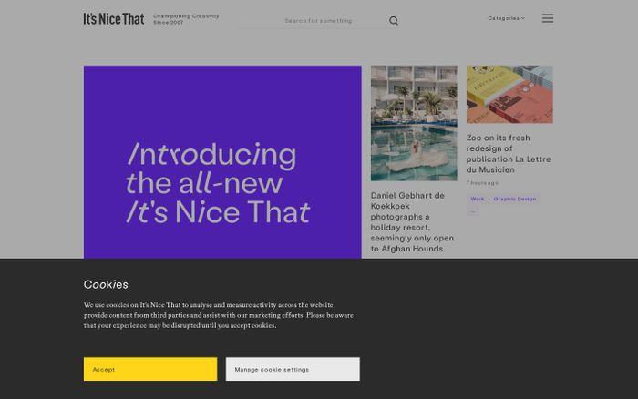 Screenshot of It's Nice That website