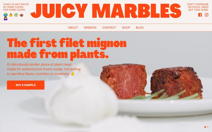 Screenshot of Juicy Marbles website