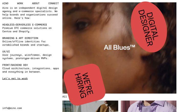 Screenshot of Aino website