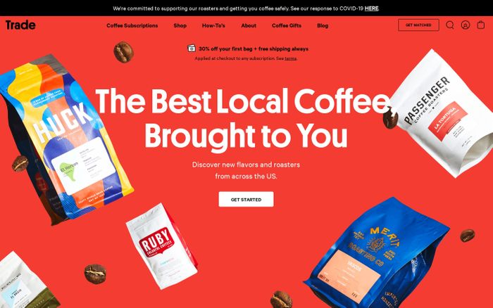Screenshot of Trade Coffee | The Best Coffee Subscription in the Nation
