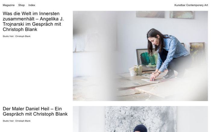 Screenshot of Magazine – Shop – Studio — Kunstbar Contemporary Art
