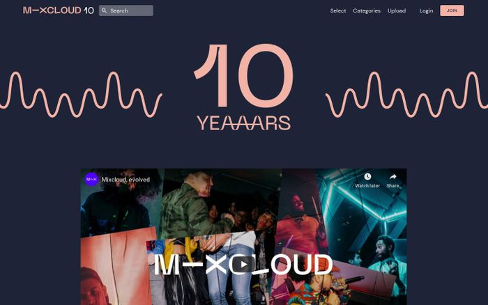 Screenshot of Mixcloud 10 years