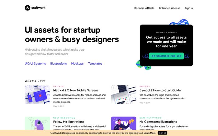 Screenshot of Craftwork Design – Amazing User Interface Resources for Designers and Developers