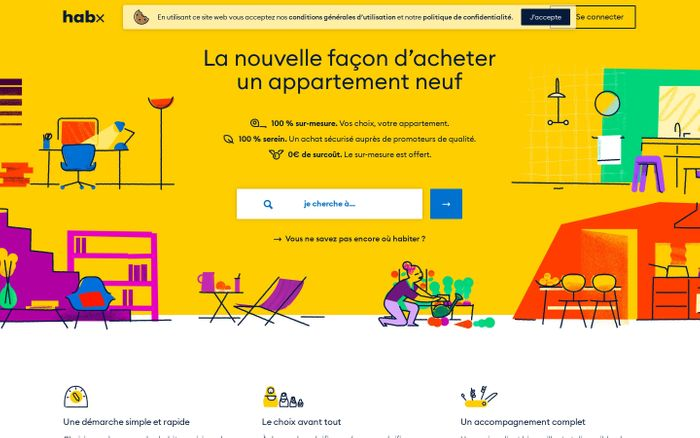 Screenshot of habx - La nouvelle façon d'acheter un appartement neuf.