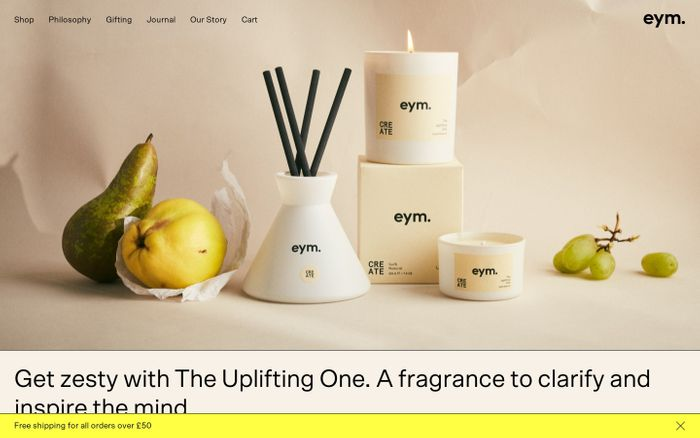 Screenshot of Eym naturals website