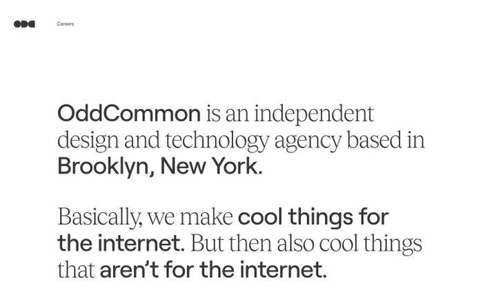 Screenshot of OddCommon website