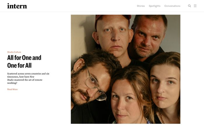 Screenshot of Intern Magazine — For and By the Creative Youth