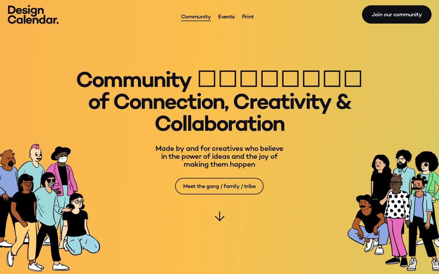 Screenshot of Design Calendar website
