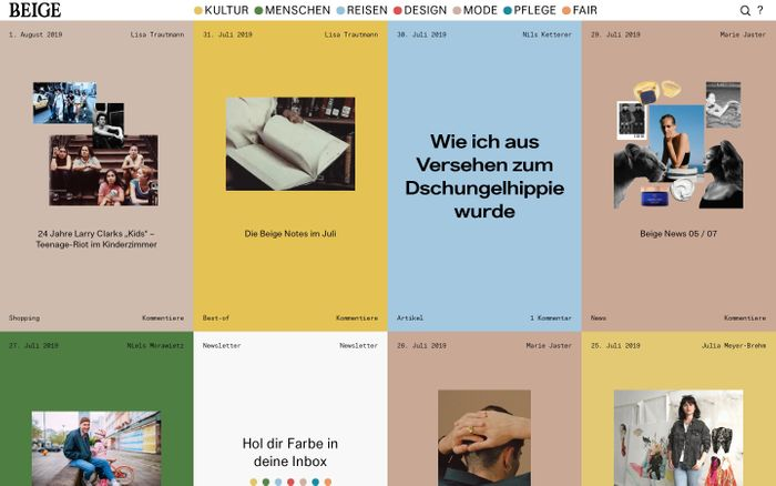 Screenshot of Beige — Das unisex Onlinemagazin